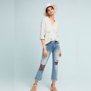 Anthro Patched Mid-Rise Slim Boyfriend Jeans
